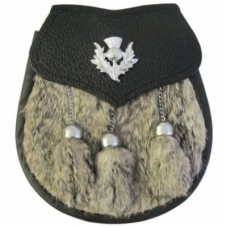 Grained leather with GRAY rabbit fur Thistle Badge on Flap